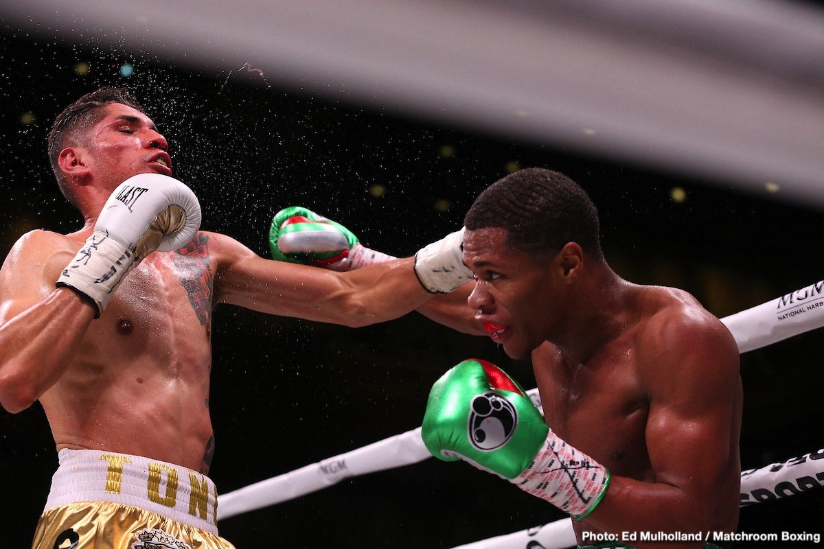 Devin Haney - In a card that was filled with knockout victories for the A-side fighters, #4 WBC lightweight ontender Devin Haney (22-0, 14 KOs) stopped Antonio Moran (24-4 17 KOs) by a highlight reel seventh round knockout on a Matchroom Boxing/DAZN card at the MGM National Harbor, in Oxon Hill, Maryland.