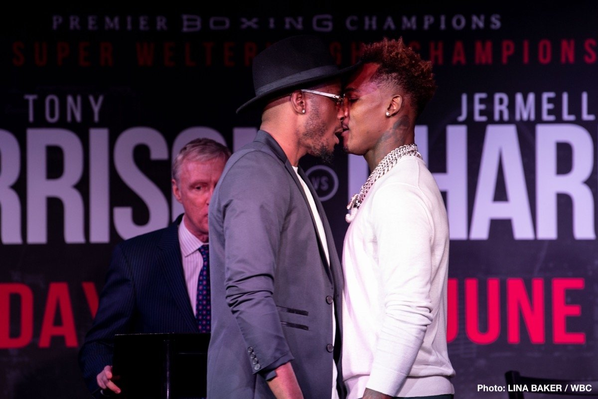 "Tony Harrison -  WBC Super Welterweight Champion Tony ""Superbad'' Harrison and former world champion Jermell Charlo exchanged words at a heated Los Angeles press conference Wednesday ahead of their world championship rematch that headlines Premier Boxing Champions on FOX and FOX Deportes Sunday, June 23 from Mandalay Bay Events Center in Las Vegas (8 p.m. ET/5 p.m. PT)."
