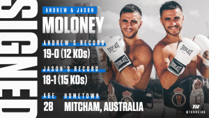 Andrew Moloney - Two Moloneys are better than one. The Moloney twins — undefeated super flyweight contender Andrew and top bantamweight contender Jason — have each signed a multi-year promotional agreement with Top Rank.