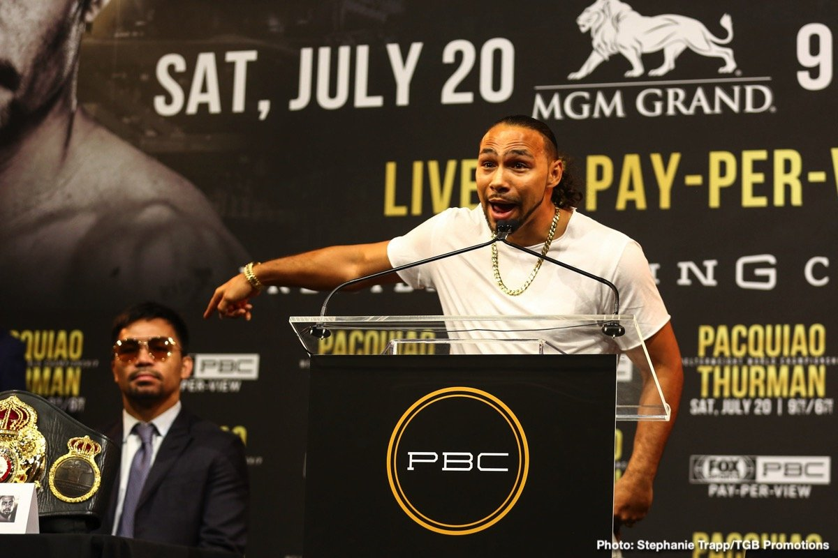 Keith Thurman - WBA welterweight champion Keith Thurman says it is a dream come true, an honour even, to be fighting superstar and all time great, Manny Pacquiao. Yet Thurman insists he will have the honour of not only beating the fighting senator on July 20th in their Las Vegas (we hope) super-fight; but that he will retire Pac Man from the sport.