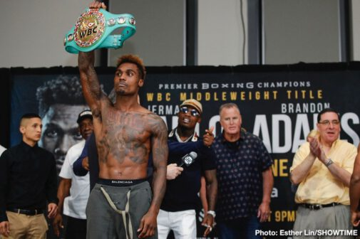 Brandon Adams, Jermall Charlo - Unbeaten middleweight champion Jermall Charlo and middleweight contender Brandon Adams both made the 160-pound weight limit a day before they square off Saturday night in the main event live on SHOWTIME from NRG Arena in Houston in an event presented by Premier Boxing Champions.
