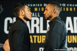 Brandon Adams, Jermall Charlo - Unbeaten middleweight champion Jermall Charlo and middleweight contender Brandon Adams went face-to-face at the final press conference Thursday before they square off this Saturday night in the main event live on SHOWTIME from NRG Arena in Houston and presented by Premier Boxing Champions.
