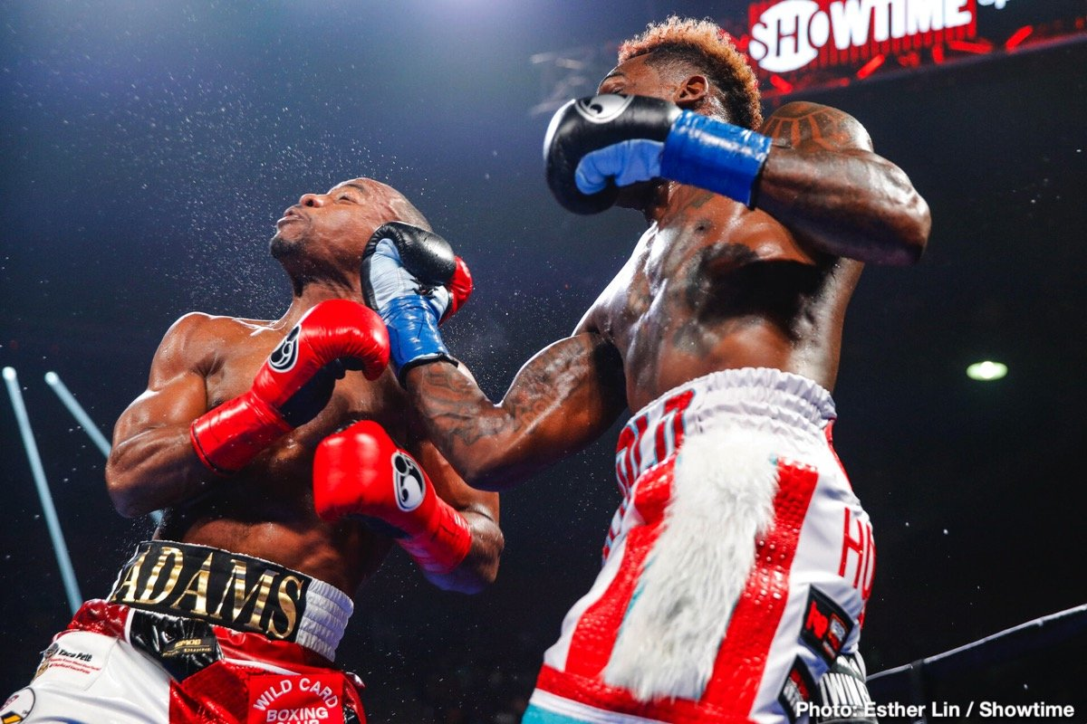 In front of a sold out crowd of his hometown fans, WBC Middleweight World Champion Jermall Charlo defended his new title for the first time and kept his unbeaten record in dominating fashion against Brandon Adams Saturday night at NRG Arena live on SHOWTIME.