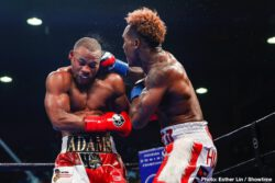 Brandon Adams, Claudio Marrero, Erickson Lubin, Jermall Charlo - In front of a sold out crowd of his hometown fans, WBC Middleweight World Champion Jermall Charlo defended his new title for the first time and kept his unbeaten record in dominating fashion against Brandon Adams Saturday night at NRG Arena live on SHOWTIME.