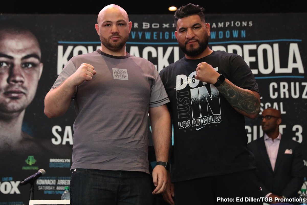 "Polish star and heavyweight contender Adam Kownacki and former title challenger Chris ""The Nightmare"" Arreola went face to face Tuesday at a press conference in Brooklyn as they previewed their showdown that headlines FOX PBC Fight Night and on FOX Deportes Saturday, August 3 from Barclays Center, the home of BROOKLYN BOXING™."