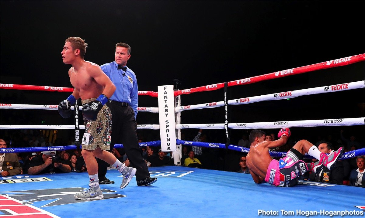 """Alberto """"El Explosivo"""" Machado, Andrew Cancio - The highly anticipated rematch lived up to the hype on Friday night at Fantasy Springs Resort Casino, as Andrew Cancio (21-4-2, 16 KOs) stopped Alberto Machado (21-2,17 KOs) once again to retain his WBA Super Featherweight Title."""