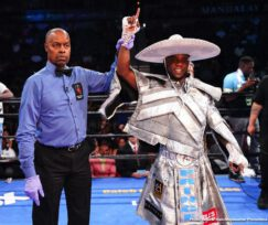 """Guillermo """"El Chacal"""" Rigondeaux, Jermell Charlo, Jorge Cota, Julio Ceja - Former super welterweight world champion Jermell Charlo had anticipated this night would be all about him returning to championship glory. But it wasn't to be. Charlo accomplished something just as sweet - a picture perfect knockout victory over dangerous veteran Jorge Cota in the main event of PBC on FOX Fight Night from Mandalay Bay Event Center in Las Vegas."""