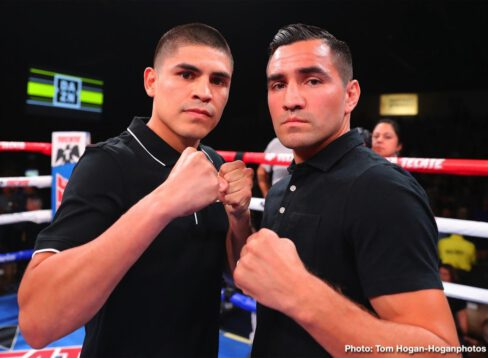 """Alberto """"El Explosivo"""" Machado, Andrew Cancio - Andrew """"El Chango"""" Cancio (21-4-2, 15 KOs), the pride of Blythe, Calif., successfully defended his WBA Super Featherweight World Title via third-round knockout in his rematch against Puerto Rico's Alberto """"Explosivo"""" Machado (21-2, 17 KOs). The event took place at Fantasy Springs Resort Casino in Indio, Calif. and was streamed live exclusively on DAZN. After much toe-to-toe action, Cancio landed a body shot that ended matters at 1:01 of the third round."""