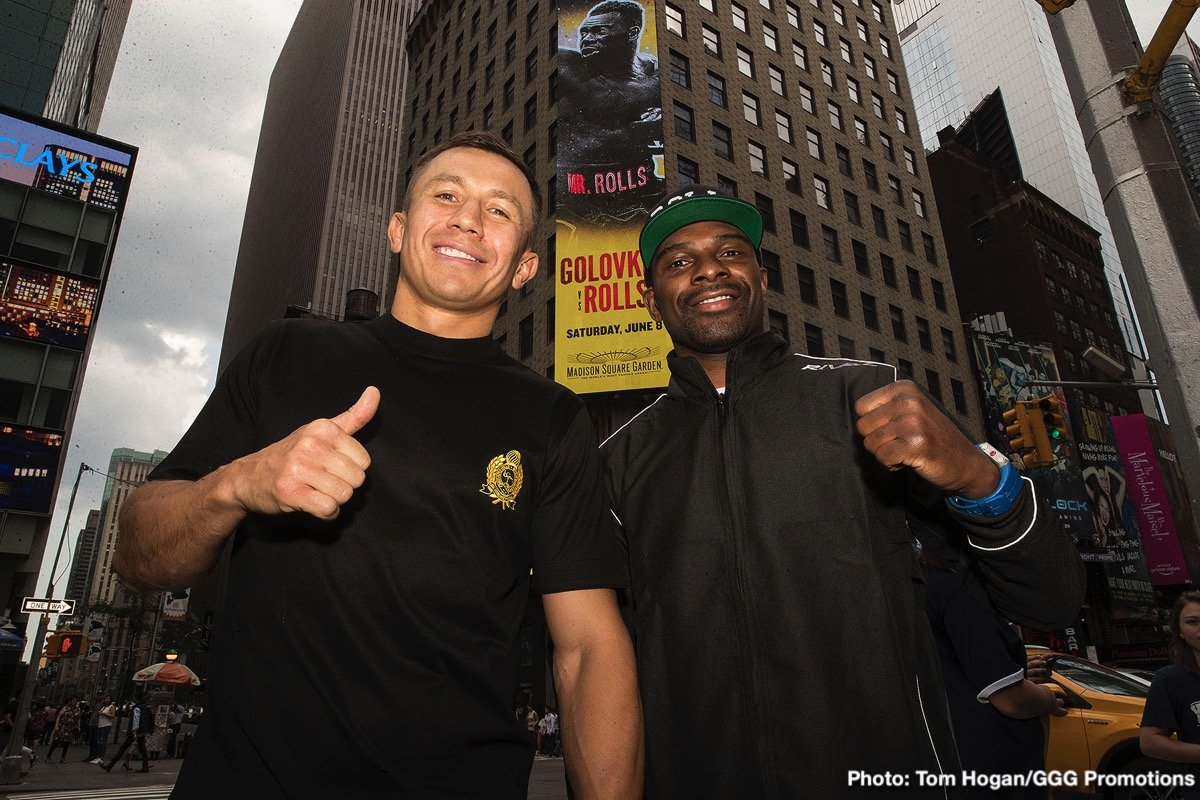"""Gennady Golovkin, Steve Rolls - Before entering the ring on Saturday night at Madison Square Garden, boxing's pound-for-pound superstar Gennadiy """"GGG"""" Golovkin (38-1-1, 34 KOs) from Karaganda, Kazakhstan and undefeated Top-10 contender Steve Rolls (19-0, 10 KOs) from Toronto, Canada, spoke to media and took the podium on Wednesday afternoon to discuss their preparation and mindset heading into their 12-round rumble. The fight will be contested at a maximum weight of 164 lbs. and streamed live on DAZN beginning at 7:00 p.m. ET / 4:00 p.m. PT. GGG vs. Rolls kicks off the exclusive six-fight, three-year global partnership between GGG Promotions and DAZN, the world's fastest-growing sports streaming platform."""