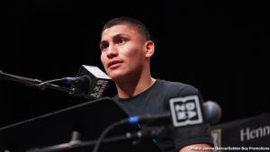 """Vergil Ortiz Jr. - Rising knockout artist Vergil Ortiz Jr. (13-0, 13 KOs) hosted a press conference at The Epic Theater of The Epic Recreation Center in his hometown of Grand Prairie, Texas to speak about his upcoming 10-round welterweight fight against former world title challenger Antonio """"Relentless"""" Orozco (28-1, 17 KOs)."""
