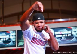 """Jesse Hart, Mikaela Mayer, Sullivan Barrera, Tom Schwarz, Tyson Fury - The undefeated lineal heavyweight champion of the world — Tyson Fury AKA """"The Gypsy King"""" — put on a show Tuesday afternoon in Las Vegas at the media workout to promote Saturday's title defense against Tom Schwarz at MGM Grand Garden Arena."""