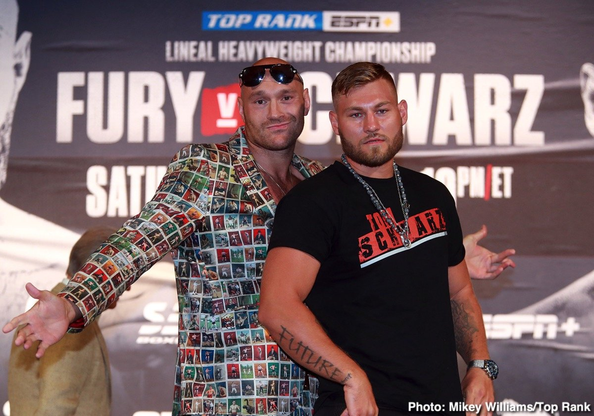 Tom Schwarz, Tyson Fury - Unbeaten heavyweight title challenger Tom Schwarz has plenty of motivation going into tomorrow night's challenge of lineal heavyweight champ Tyson Fury, and the 25 year old has two fellow fighters to look at as inspiration. Schwarz is taking heart from what Andy Ruiz – an even bigger underdog when going into his own world title shot against Anthony Joshua than Schwarz is against Fury – managed to do a couple of weeks ago, and he is also using the exploits of the great Max Schmeling to inspire him.