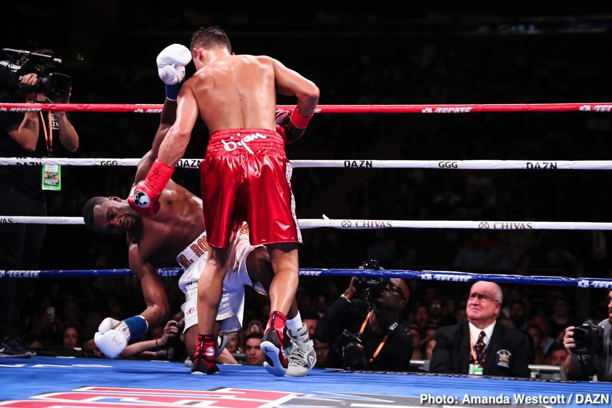 Gennady Golovkin, Steve Rolls - Gennady Golovkin (39-1-1, 34 KOs) picked up his first win in 13 months in stopping Canadian Steve Rolls (19-1, 10 KOs) by  booming fourth round knockout on Saturday night on DAZN at Madison Square Garden in New York.