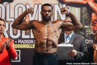 Charles Conwell, Gennady Golovkin, Steve Rolls - Former middleweight champion Gennady Golovkin (38-1-1, 34 KO) came in at 163 pounds for his match against unbeaten Steve Rolls (19-0, 10 KOs) this Saturday night on DAZN at Madison Square Garden in New York. Rolls weighed at 163.8 lbs. It's a big step up for Rolls, who has been fighting on a lower level throughout his career, and has never fought a world class fighter before.