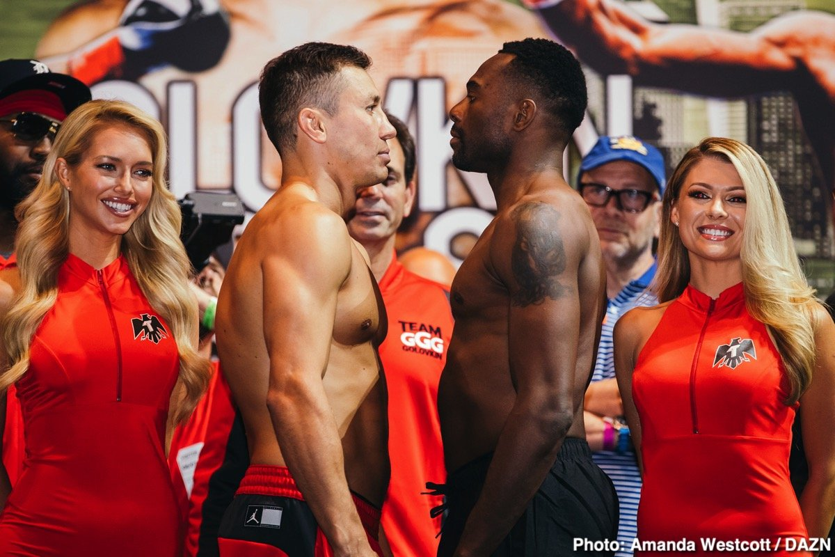Charles Conwell - Former middleweight champion Gennady Golovkin (38-1-1, 34 KO) came in at 163 pounds for his match against unbeaten Steve Rolls (19-0, 10 KOs) this Saturday night on DAZN at Madison Square Garden in New York. Rolls weighed at 163.8 lbs. It's a big step up for Rolls, who has been fighting on a lower level throughout his career, and has never fought a world class fighter before.