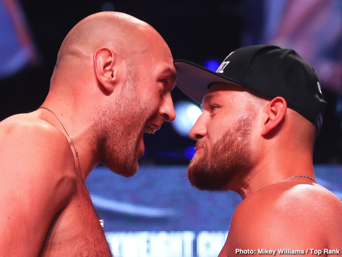 Top Rank Boxing - Tyson Fury weighed in a little higher than expected on Friday in coming in at 263 pounds for his fight on ESPN+ against German heavyweight Tom Schwarz at the MGM Grand Garden Arena in Las Vegas, Nevada.