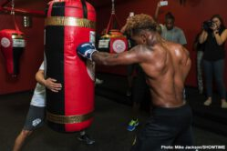 Brandon Adams, Jermall Charlo - Unbeaten interim WBC Middleweight Champion Jermall Charlo hosted a media workout Wednesday as he prepares for his title defense against Brandon Adams in the main event live on SHOWTIME Saturday, June 29 from NRG Arena in Charlo's hometown of Houston.