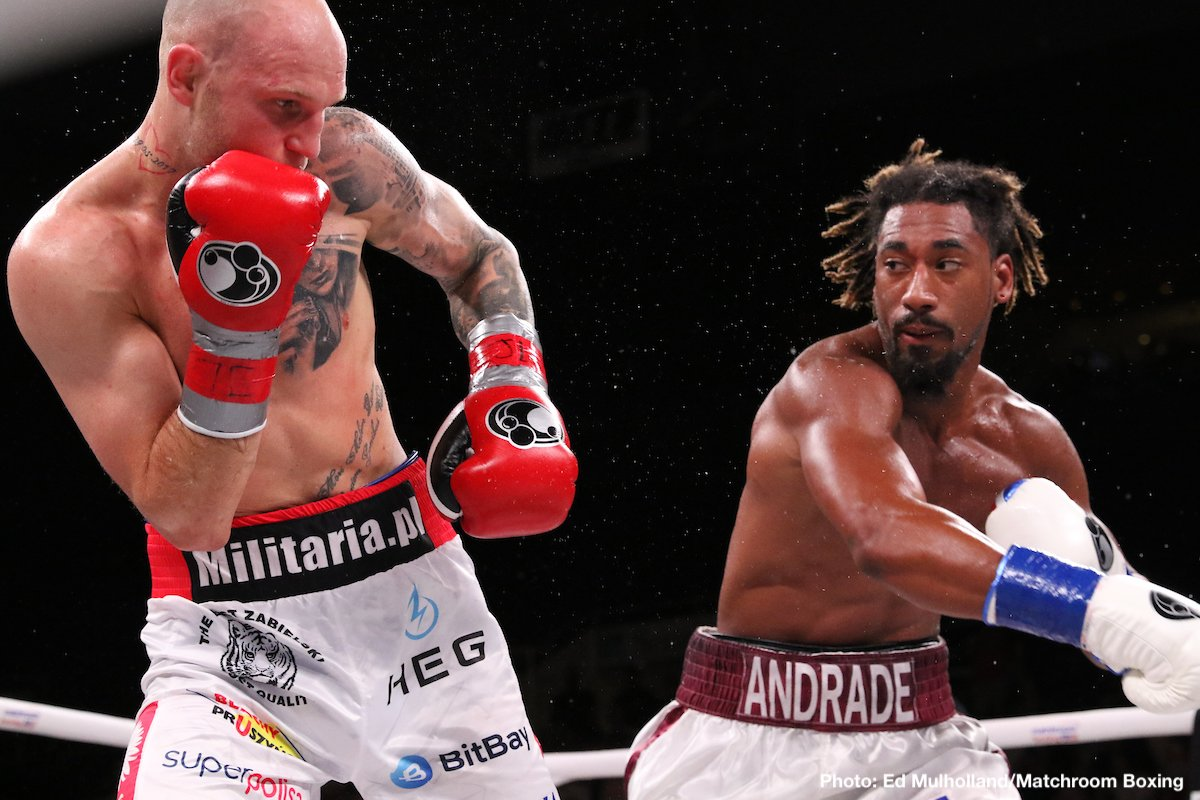 "Undefeated Demetrius ""Boo Boo"" Andrade successfully retained his WBO middleweight world title for the second time with a dominating twelfth-round unanimous decision over Maceij ""Striczu"" Sulecki, in which he won every single round on all three judges' scorecards (120-107, 120-107, and 120-107). Immediately after the fight, Andrade called out WBC/WBA/IBF middleweight world champion Canelo Alvarez for a unification bout in September."