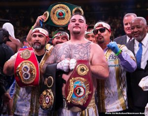"""Andy Ruiz - WBA/IBF/WBO heavyweight champ Andy Ruiz spoke on The Joe Rogan Show recently, and the Mexican/American """"Destroyer"""" said the details regarding his big rematch fight with Anthony Joshua will be known soon; details such as venue of the rematch. Ruiz again stated firmly that the return will not be happening in the UK. Las Vegas, Los Angeles and New York are all possibilities."""