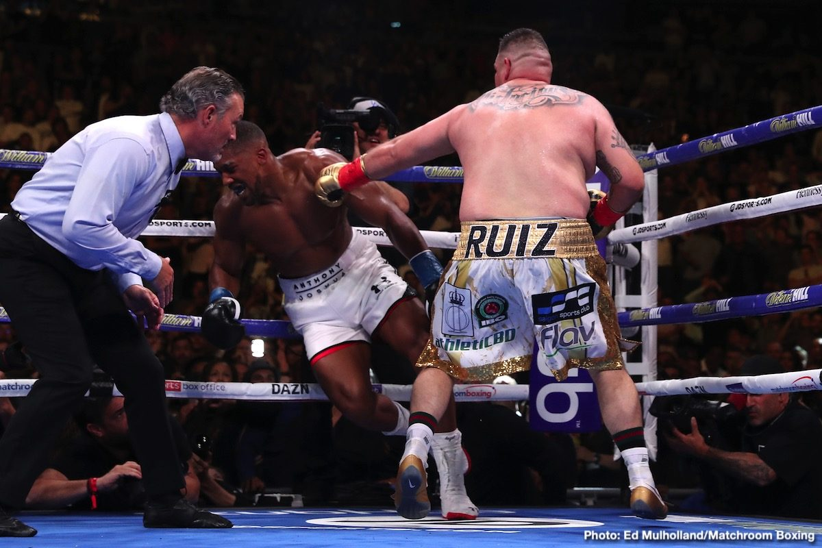 Andy Ruiz Jr, Anthony Joshua - Heavyweight champion Anthony Joshua is transparent about his loss to Andy Ruiz Jr. last year in June. Joshua (23-1, 21 KOs) freely admits that he was beaten up in his seventh-round knockout loss to the American. Before the fight ended abruptly in the 7th, Joshua was knocked down four times by the unheralded Ruiz.