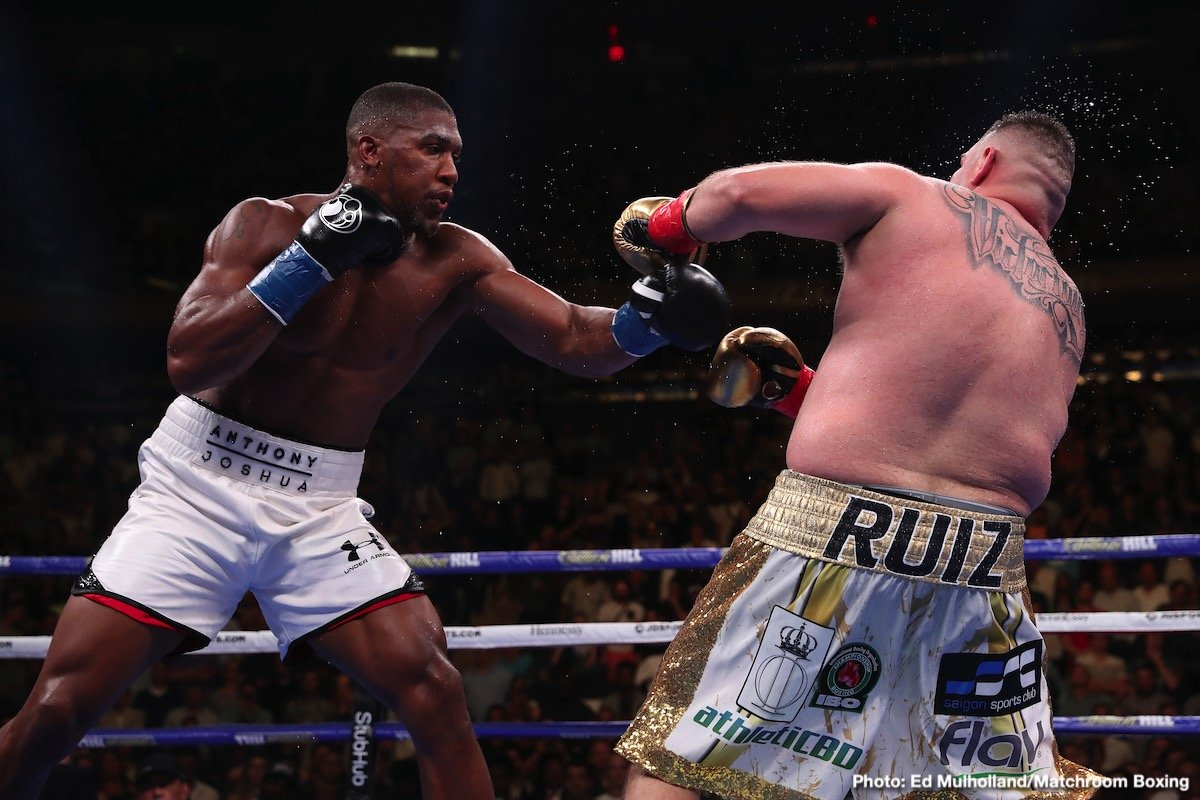 Andy Ruiz, Anthony Joshua, Deontay Wilder, Eddie Hearn - Promoter Eddie Hearn, in speaking today with IFL TV, said that his fighter Anthony Joshua absolutely has to win his upcoming return fight with Andy Ruiz before he can even think about any other match-ups involving AJ. That said, Hearn did speak (in reply to a question) Deontay Wilder's name.