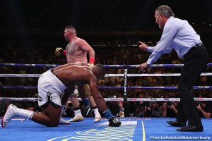 Andy Ruiz Jr, Anthony Joshua, Deontay Wilder - WBC heavyweight champion Deontay Wilder took pleasure in gloating about Anthony Joshua (22-1, 21 KOs) suffering his first career defeat on Saturday night to challenger Andy Ruiz Jr. (33-1, 22 KOs) in losing by a seventh round TKO at Madison Square Garden in New York. It's hard for Wilder not to gloat. After all this time that Joshua and his promoter Eddie Hearn have been going back and forth with Wilder. It's got to be a good feeling for Wilder to see Joshua knocked down a peg.