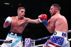 Tommy Coyle - CHRIS ALGIERI (now, 24-3 9KO's) was very impressive in winning his first defense of the WBO International Title (140 lbs) against tough Brit, TOMMY COYLE (25-5 12KO's), at the mecca of boxing, Madison Square Garden Saturday.
