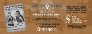 - When the bell rings to signal the start of the first bout on August 16, it will have been 27 years and 78 days since the last time a professional boxing match took place in Nashua. Boston Boxing Promotions is scheduled to present the first professional card in the city since May 1992. The event, to be held at the gymnasium at Nashua Community College, will be a fundraiser for The Scars Foundation - a charity started by Godsmack frontman Sully Erna. Erna will be in attendance on August 16.