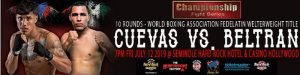 "Derrieck Cuevas - Miami, Fla: The summer series premiere of Boxeo Telemundo Ford is set to take place this Friday, July 12 from the Hard Rock Hotel & Casino in Hollywood, FL. Champion Derrieck ""Pretty Boy"" Cuevas (21-0-1 14 KO's) faces Mexican challenger Jesus Alberto ""Barretero"" Beltran (17-2-2 10 KO's) 10 rounds for the WBA Fedelatin welterweight title. The main event is bought to you by All Star Boxing, Inc. in association with The Heavyweight Factory."