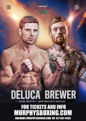 Mark DeLuca - Murphys Boxing is proud to announce NABA super welterweight champion, Mark DeLuca (23-1, 13 KOs) will face undefeated Canadian contender, Brandon Brewer (23-0-1, 11 KOs) on the undercard of the middleweight world championship bout between Demetrius Andrade and Maciej Sulecki live on DAZN on Saturday, June 29th in Providence, Rhode Island.