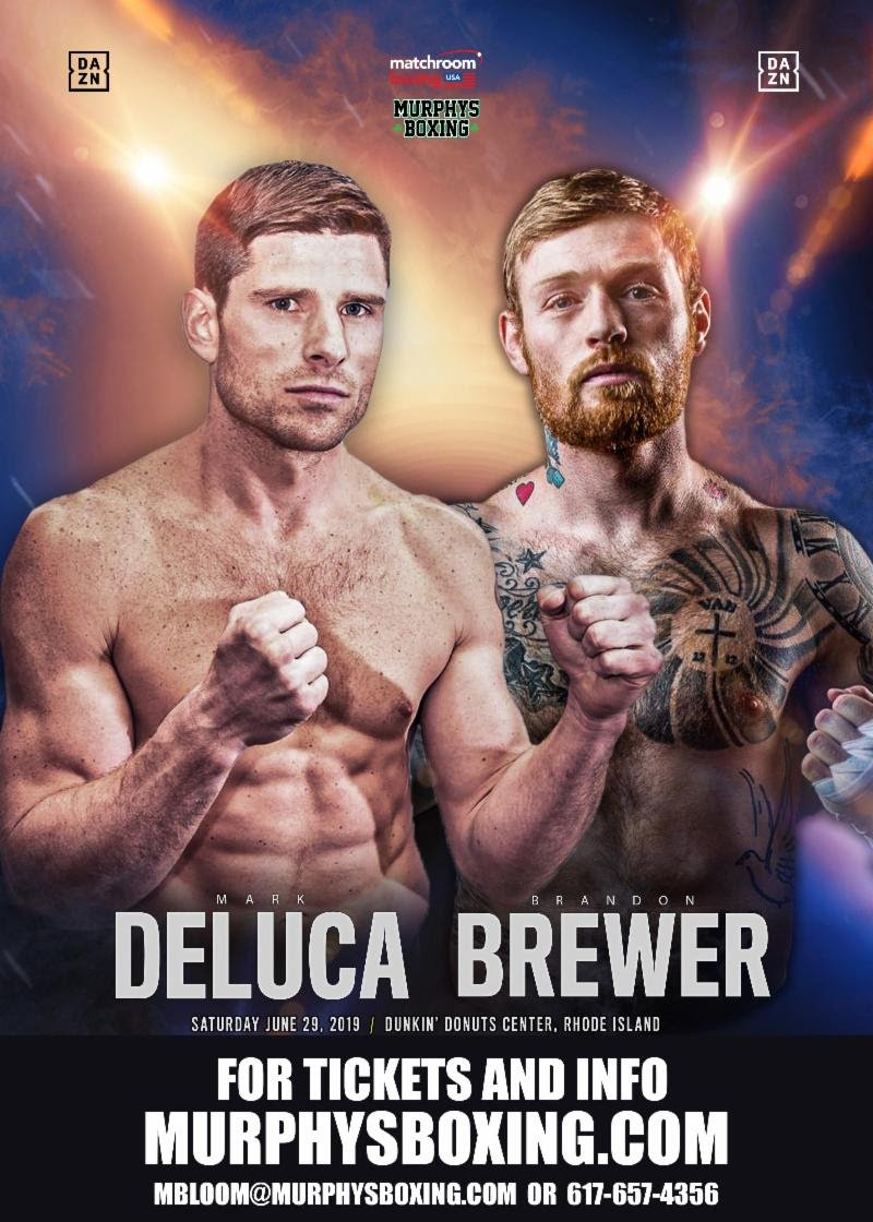 DAZN, Demetrius Andrade, Maciej Sulecki, Mark DeLuca - Murphys Boxing is proud to announce NABA super welterweight champion, Mark DeLuca (23-1, 13 KOs) will face undefeated Canadian contender, Brandon Brewer (23-0-1, 11 KOs) on the undercard of the middleweight world championship bout between Demetrius Andrade and Maciej Sulecki live on DAZN on Saturday, June 29th in Providence, Rhode Island.