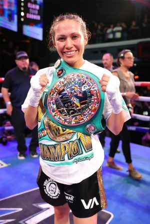 "Azat Hovhannisyan - Seniesa ""Superbad"" Estrada (17-0, 7 KOs) overcame her toughest challenge yet as she defeated Gretchen ""Chen Chen"" Abaniel (18-11, 6 KOs) via technical knockout to defend her WBC Silver Light Flyweight Championship in the scheduled 10-round main event of the June 13 edition of Golden Boy DAZN Thursday Night Fights at Avalon Hollywood. Abaniel was not able to continue after the fourth round, handing Estrada the victory."