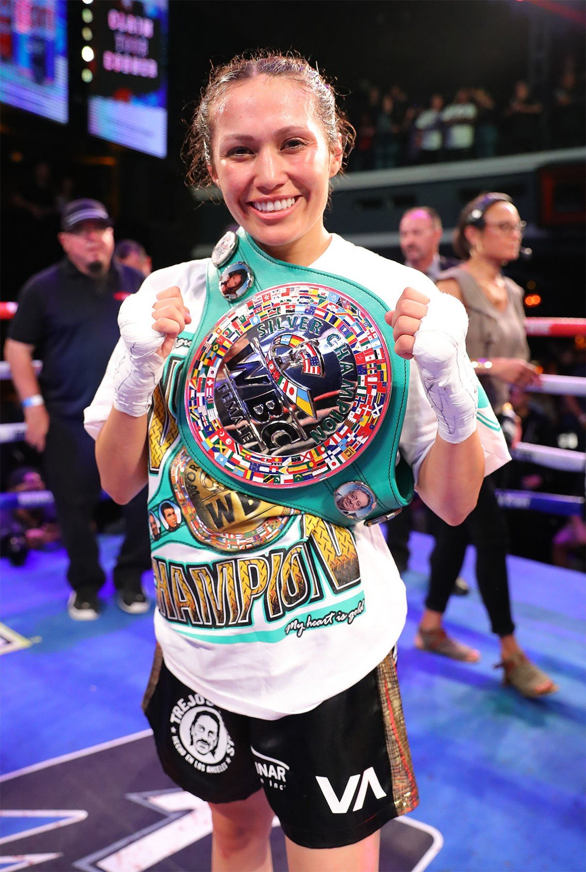 "Seniesa Estrada - Seniesa ""Superbad"" Estrada (17-0, 7 KOs) overcame her toughest challenge yet as she defeated Gretchen ""Chen Chen"" Abaniel (18-11, 6 KOs) via technical knockout to defend her WBC Silver Light Flyweight Championship in the scheduled 10-round main event of the June 13 edition of Golden Boy DAZN Thursday Night Fights at Avalon Hollywood. Abaniel was not able to continue after the fourth round, handing Estrada the victory."