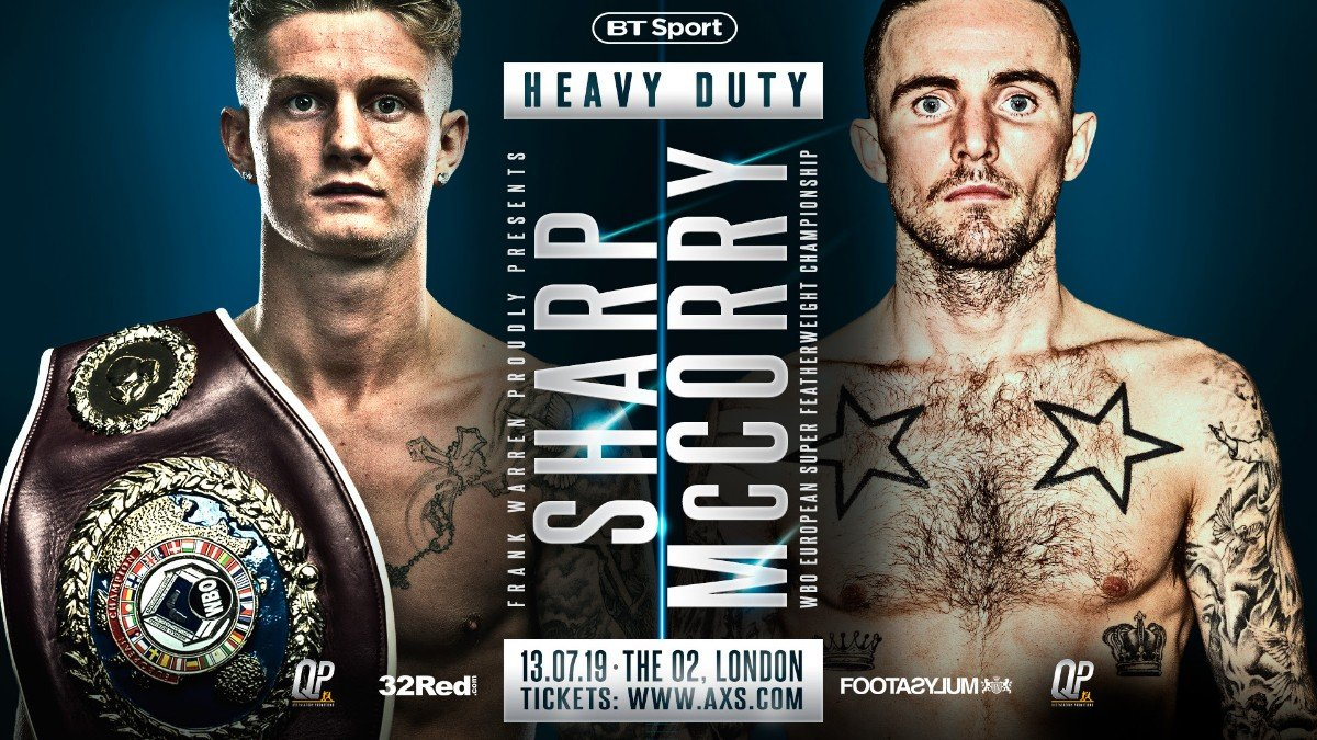 Archie Sharp - ARCHIE SHARP WILL make a first defence of his WBO European super featherweight title when he takes on the tough Scot Jordan McCorry at The O2, London on July 13.