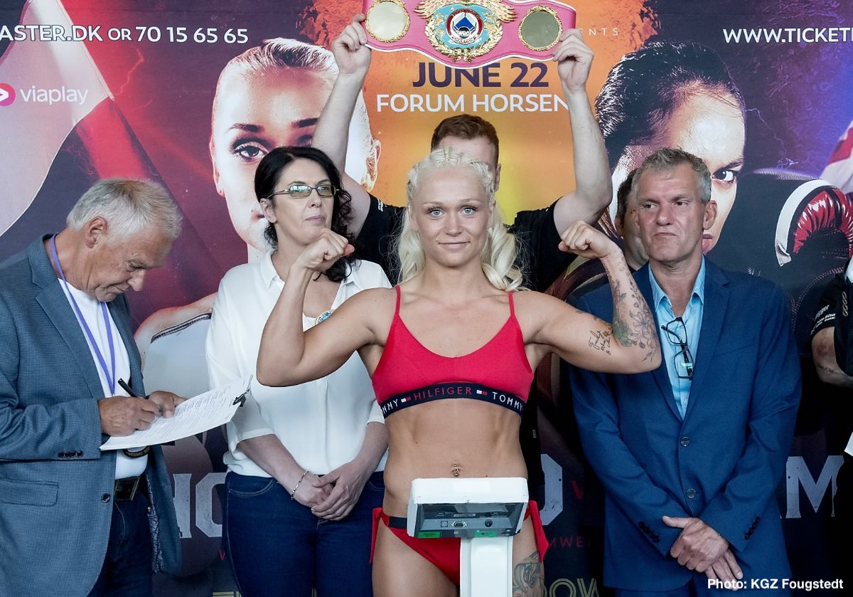 Dina Thorslund - Dina Thorslund (13-0, 6 KOs) and April Adams (11-1-1, 4 KOs) both made weight ahead of Saturday's WBO Female World Super Bantamweight title showdown at the Forum Horsens in Denmark.
