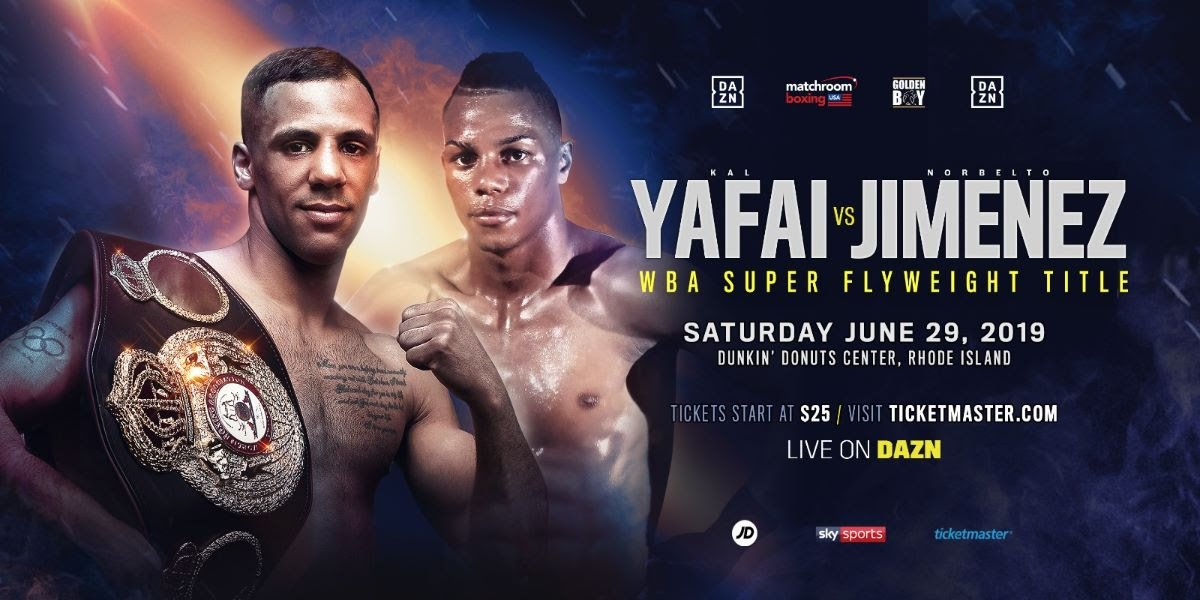 "Demetrius ""Boo Boo"" Andrade, Kal Yafai, Maciej Sulecki - Kal Yafai will defend his WBA World Super-Flyweight title against Norbelto Jimenez on Saturday June 29 at the Dunkin' Donuts Center in Providence, Rhode Island, live on DAZN in the US and on Sky Sports in the UK."