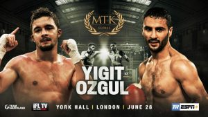 Anthony Yigit - World title challenger Anthony Yigit (23-1-1, 8 KOs) will meet Siar Ozgul (15-3, 3 KOs) at the #MTKFightNight on June 28 at York Hall in London, on ESPN+.