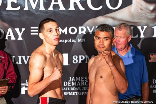 "Antonio DeMarco, Charles Martin, Gerald Washington, Jamal James, Robert Helenius - Welterweight contender and Minneapolis-native Jamal ""Shango"" James and former world champion Antonio DeMarco went face-to-face Thursday at the final press conference before they meet in a 10-round welterweight attraction that headlines FS1 PBC Fight Night and on FOX Deportes this Saturday night from The Armory in Minneapolis."