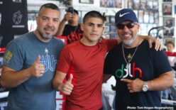 """WBC Super Bantamweight World Champion Rey Vargas (33-0, 22 KOs) and No 1. Contender Tomoki """"El Mexicanito"""" Kameda (36-2, 20 KOs) hosted a media workout today at Westside Boxing Club in Los Angeles ahead of their 12-round battle. The event will take place on Saturday, July 13 at Dignity Health Sports Park and will be streamed live on DAZN."""