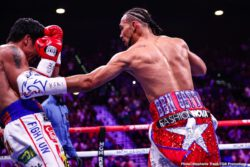 "Keith Thurman, Manny Pacquiao, Omar Figueroa Jr., Yordenis Ugas - Boxing's only eight-division world champion, Senator Manny ""PacMan"" Pacquiao dropped Keith ""One Time"" Thurman in round one and won a close split decision to earn a welterweight world title in the main event of a Premier Boxing Champions on FOX Sports Pay-Per-View event Saturday night from the MGM Grand Garden Arena in Las Vegas."