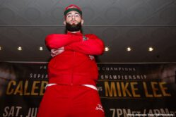 """Caleb Plant, Keith Thurman, Manny Pacquiao, Mike Lee - Two of boxing biggest stars kicked off fight week in style on Tuesday as eight-division world champion Senator Manny """"PacMan"""" Pacquiao and unbeaten WBA Welterweight World Champion Keith """"One Time"""" Thurman made their grand arrivals at MGM Grand before their highly-anticipated Premier Boxing Champions on FOX Sports Pay-Per-View showdown this Saturday night from the MGM Grand Garden Arena in Las Vegas."""