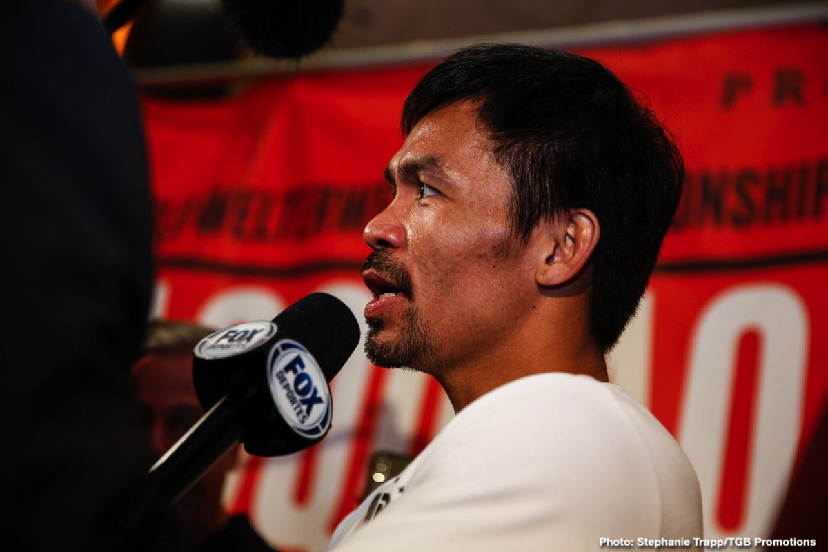 """Keith Thurman, Manny Pacquiao - The predictions are in from around the boxing world and the expert group that was polled is nearly split 50-50, but overall gives eight-division champion Manny """"Pacman"""" Pacquiao a slight edge over WBA Welterweight World Champion Keith """"One Time"""" Thurman ahead of their Premier Boxing Champions on FOX Sports Pay-Per-View main event this Saturday from the MGM Grand Garden Arena in Las Vegas."""