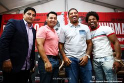 Erik Morales, Keith Thurman, Manny Pacquiao - All-time boxing greats Erik Morales, Marco Antonio Barrera and Winky Wright, plus WBC Welterweight World Champion Shawn Porter, previewed the Manny Pacquiao vs. Keith Thurman showdown for media on Thursday ahead the PBC on FOX Sports Pay-Per-View event taking place this Saturday night at the MGM Grand Garden Arena.