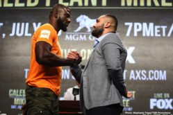 """Caleb Plant, Efe Ajagba, Mike Lee - Undefeated Super Middleweight World Champion Caleb """"Sweethands"""" Plant and unbeaten Mike Lee had a tense face-off and exchanged words Thursday at the final press conference before their showdown that headlines FOX PBC Fight Night on FOX & FOX Deportes this Saturday night from the MGM Grand Garden Arena in Las Vegas."""