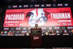 """Eight-division champion Manny """"PacMan"""" Pacquiao and unbeaten welterweight world champion Keith """"One Time"""" Thurman went face-to-face Wednesday at the final press conference before their blockbuster showdown that headlines the Premier Boxing Champions on FOX Sports Pay-Per-View this Saturday night from the MGM Grand Garden Arena in Las Vegas."""