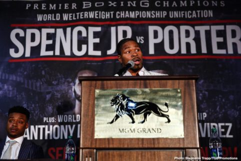 """Anthony Dirrell, David Benavidez, Errol Spence Jr., Shawn Porter - Undefeated IBF Welterweight World Champion Errol """"The Truth"""" Spence Jr. and WBC Welterweight World Champion """"Showtime"""" Shawn Porter squared-off Saturday in Las Vegas to officially announce their welterweight title unification that headlines a Premier Boxing Champions on FOX Sports Pay-Per-View event Saturday, September 28 from STAPLES Center in Los Angeles."""