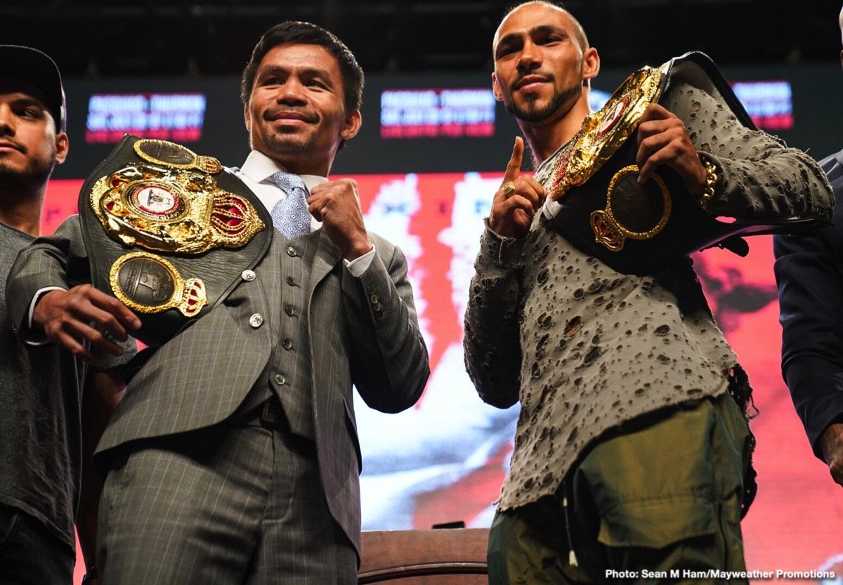 "Eight-division champion Manny ""PacMan"" Pacquiao and unbeaten welterweight world champion Keith ""One Time"" Thurman went face-to-face Wednesday at the final press conference before their blockbuster showdown that headlines the Premier Boxing Champions on FOX Sports Pay-Per-View this Saturday night from the MGM Grand Garden Arena in Las Vegas."