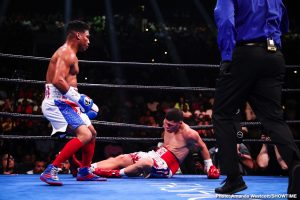"""Gervonta Davis, Roman 'Rocky' Martinez, Yuriorkis Gamboa - Former WBA featherweight champion Yuriorkis Gamboa (30-2, 18 KOs) smashed former three-time WBO super featherweight champion Roman """"Rocky"""" Martinez (30-4-3, 18 KOs) by a second round knockout. Martinez, 36, was knocked down twice by big shots from the 37-year-old Gamboa. After the second knockdown of the round, the fight was waived off. Although both guys are the same age, Gamboa looked like the younger, fresher and far more powerful of the two fighters."""