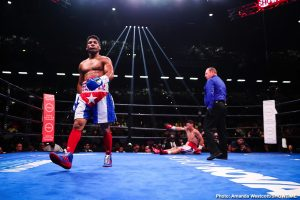 "Yuriorkis Gamboa - Manny Pacquiao isn't the only ageing lower-weight fighter who is able to astonish us all by throwing punches as fast as a man around half his age. No, Cuban veteran Yuriorkis Gamboa, at age 37, coming up 38 later this year, showed last night with his impressive second-round stoppage of fellow former champ Roman ""Rocky"" Martinez that his hands are still a blur, that his explosiveness is still very much there."