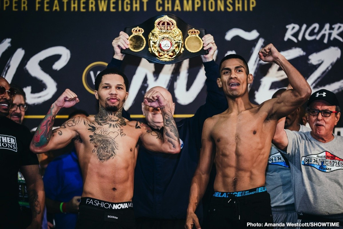Roman Martinez - Unbeaten two-time super featherweight champion and Baltimore native Gervonta Davis and mandatory challenger Ricardo Núñez both made the 130-pound weight limit a day before they square off Saturday live on SHOWTIME from Royal Farms Arena in Baltimore.
